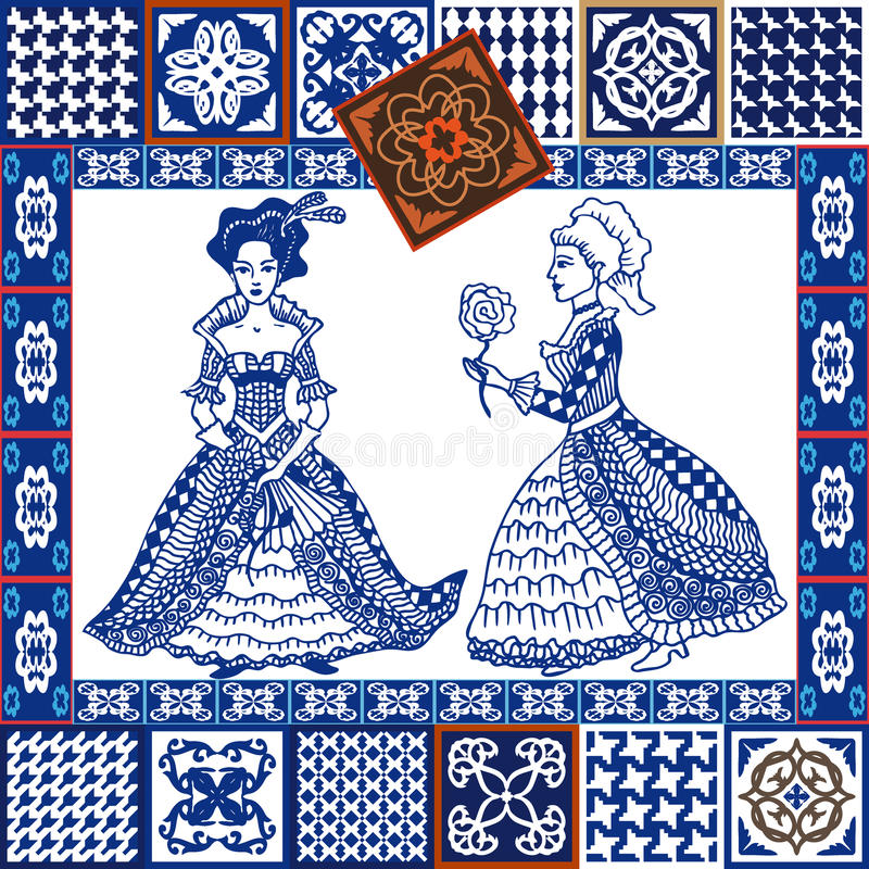 Porcelain set. Blue ceramic tiles collage. Hand-drawn ladies in ball dresses. Glazed tiled borders. Vintage tiles collection. Spanish, Portuguese, Moroccan vector illustration