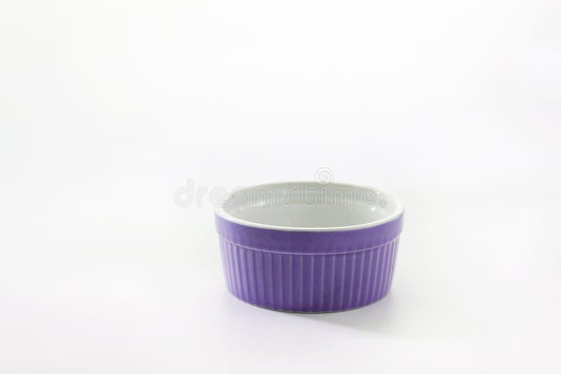 Porcelain souffle ramekin dish isolated on white background.  stock photo