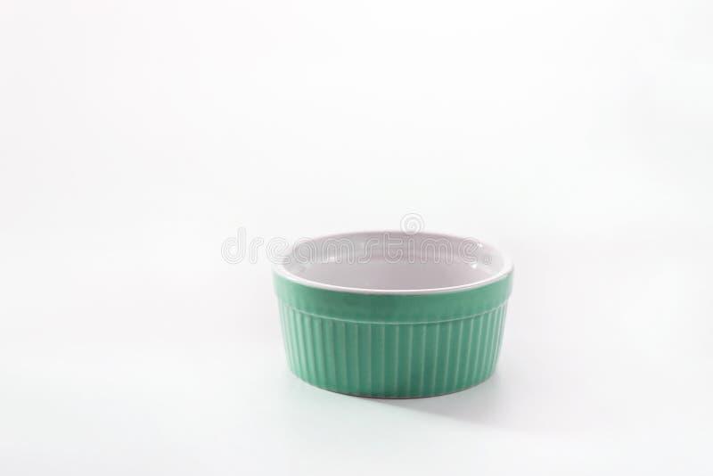 Porcelain souffle ramekin dish isolated on white background.  stock image