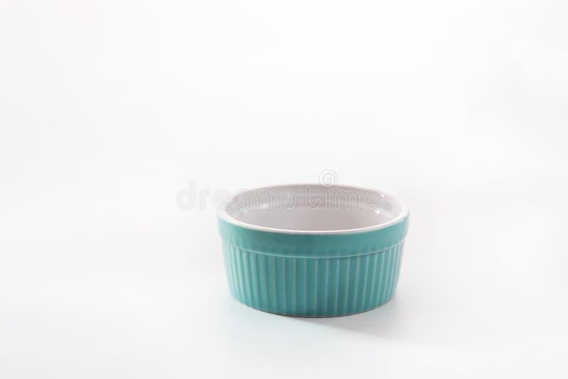 Porcelain souffle ramekin dish isolated on white background.  stock photography