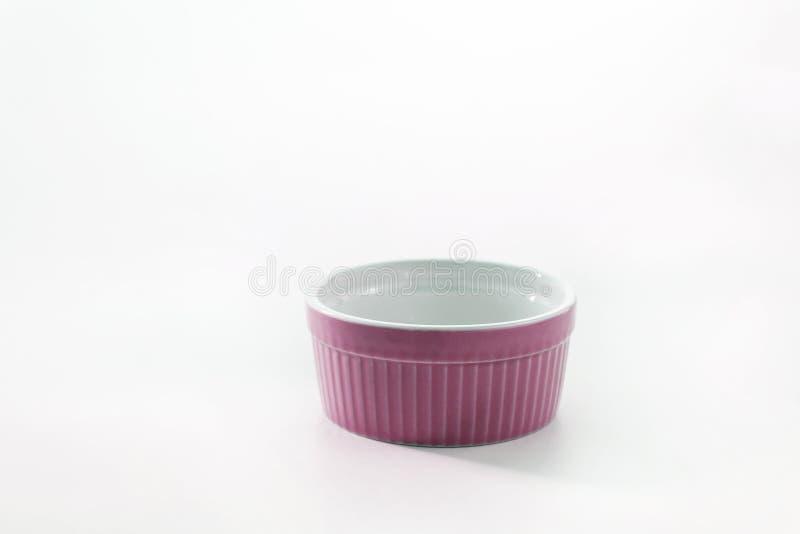 Porcelain souffle ramekin dish isolated on white background.  royalty free stock photo