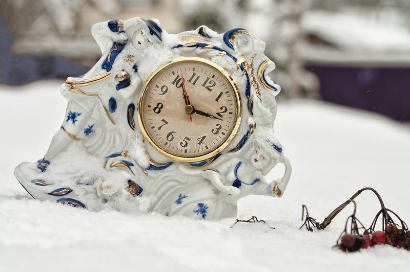 Download A porcelain table clock stock photo. Image of fireplace - 28767364