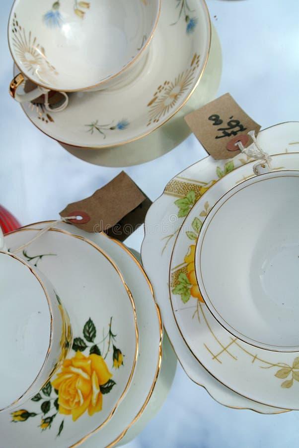 Porcelain tea cups stock photography