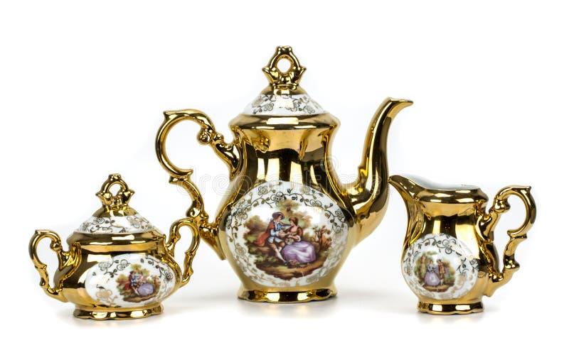 Porcelain tea set on white royalty free stock photo