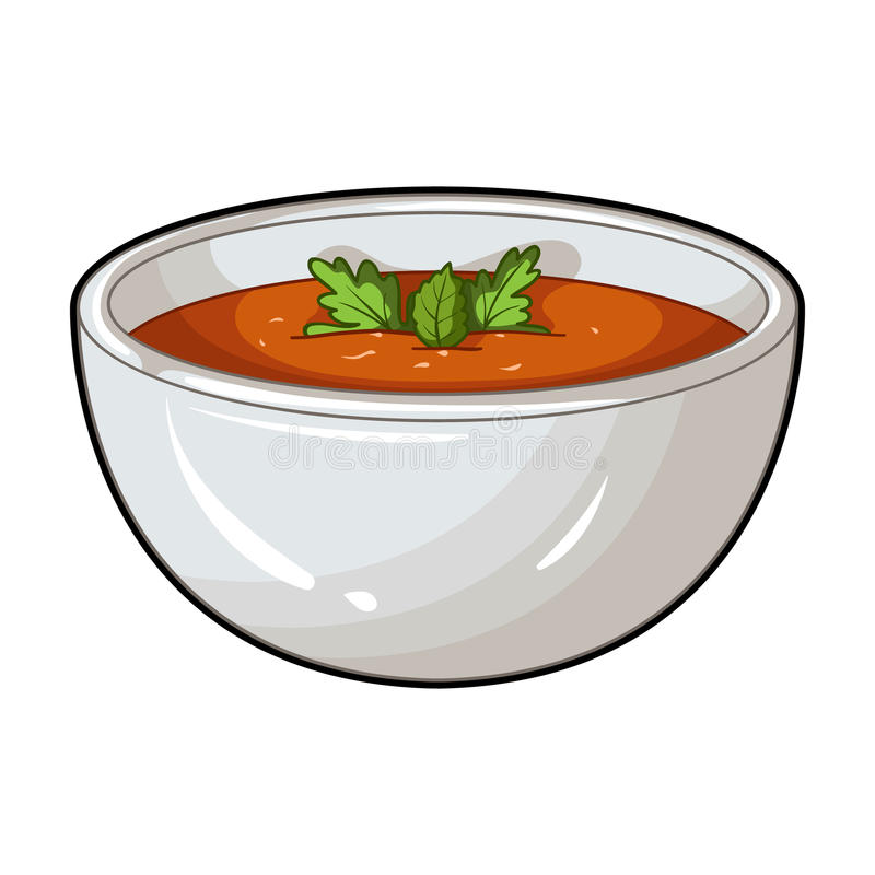 Porcelain tureen with the soup.Vegetarian soup-puree of pumpkin.Vegetarian Dishes single icon in cartoon style vector royalty free illustration