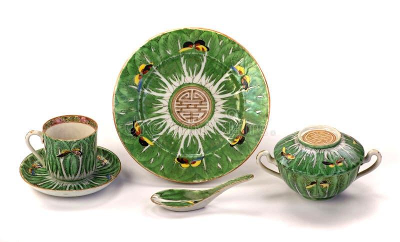 Porcelaine antique de papillons de feuille de chou de chine photo stock