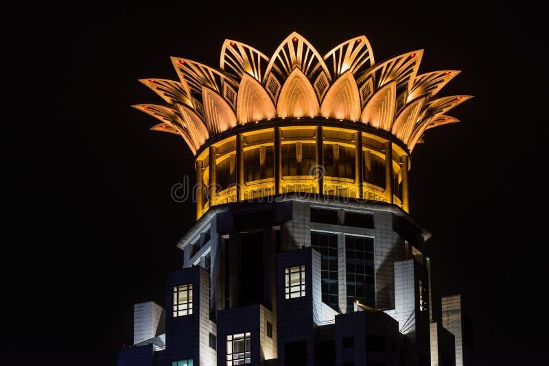 Porcelaine de Changhaï de lotus de couronne de dessus de toit de centre de digue de Westin photographie stock