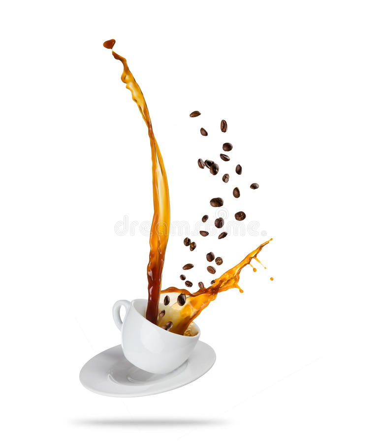 Free Porcelaine White Cup With Splashing Coffee Liquid With Coffee Be Stock Image - 95408791