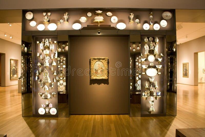 Porcelains exhibition room museum stock photos
