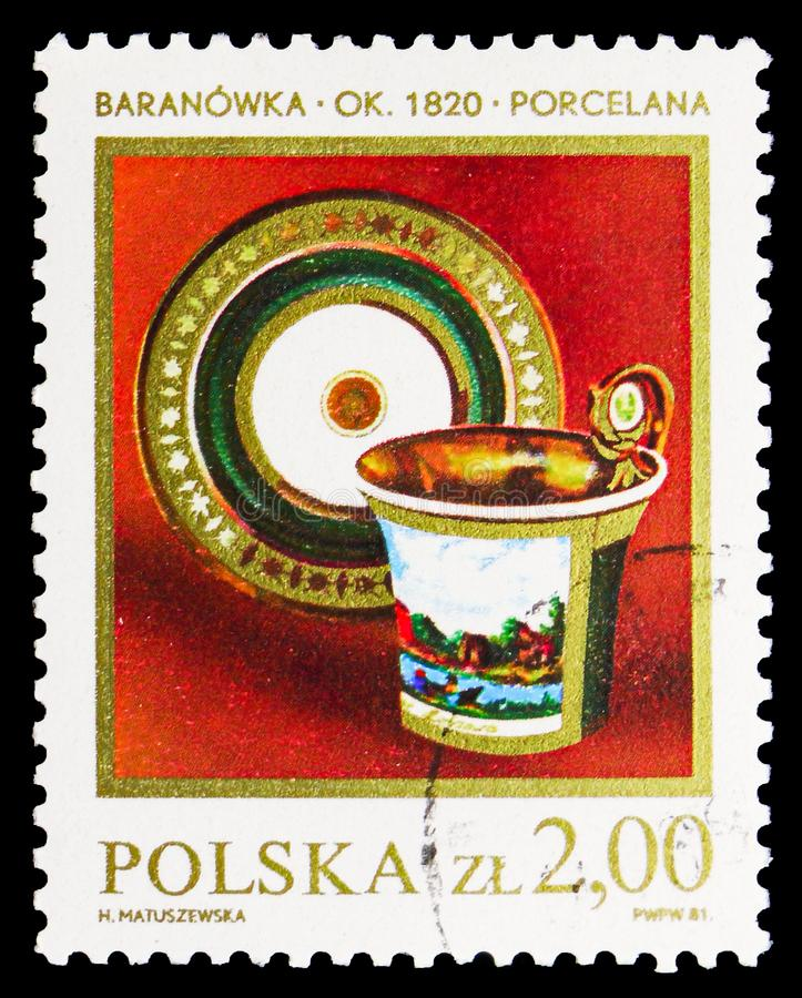 Porcelan Cup and Saucer, 1820, Polish Ceramics (1) serie, circa 1981. MOSCOW, RUSSIA - SEPTEMBER 15, 2018: A stamp printed in Poland shows Porcelan Cup and stock illustration