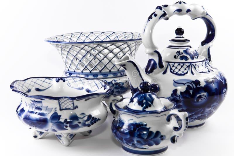 Porcelana antigua, conjunto de China. foto de archivo libre de regalías