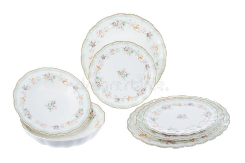 Porcelana con el ornamento floral en el fondo blanco imágenes de archivo libres de regalías