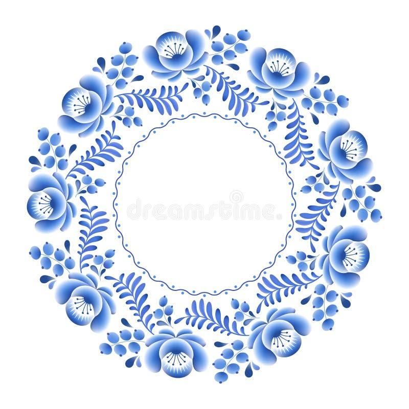 Porcelana rusa floral de las flores azules hermosa ilustración del vector