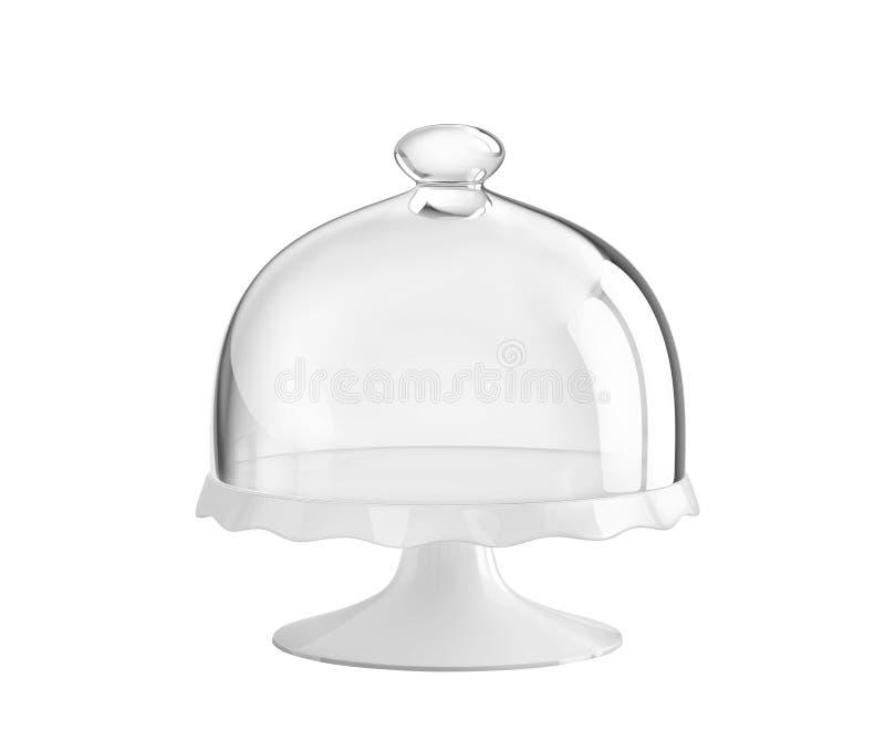 Porcelana torta stojak z szklanym dzwonkowym słojem ilustracja wektor
