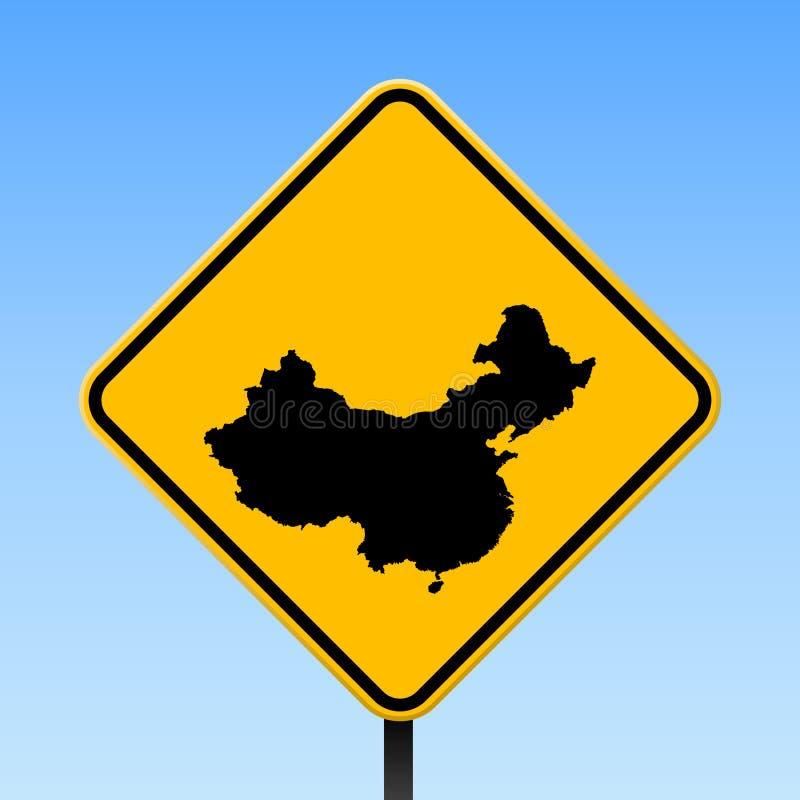Porcelanowa mapa na drogowym znaku royalty ilustracja