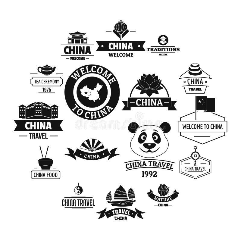 Porcelanowe podróż loga ikony ustawiają, prosty styl ilustracja wektor