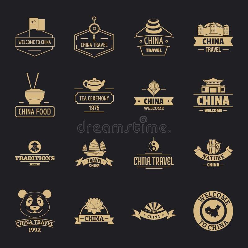 Porcelanowe podróż loga ikony ustawiają, prosty styl ilustracji