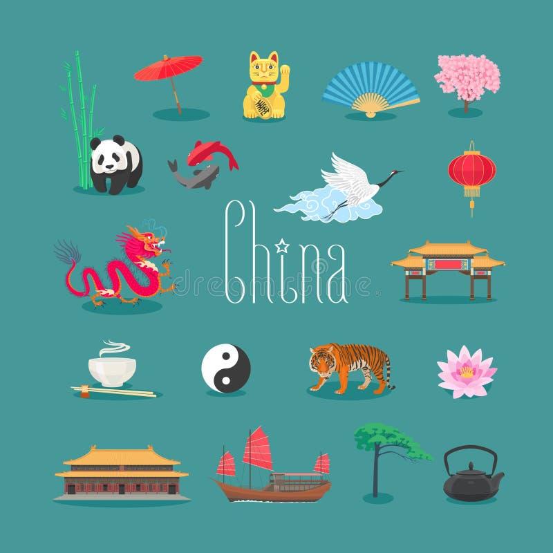 Porcelanowe wektorowe ikony, symbole z Chińskimi tradycyjnymi punktami zwrotnymi, panda, tygrys, świątynia ilustracja wektor