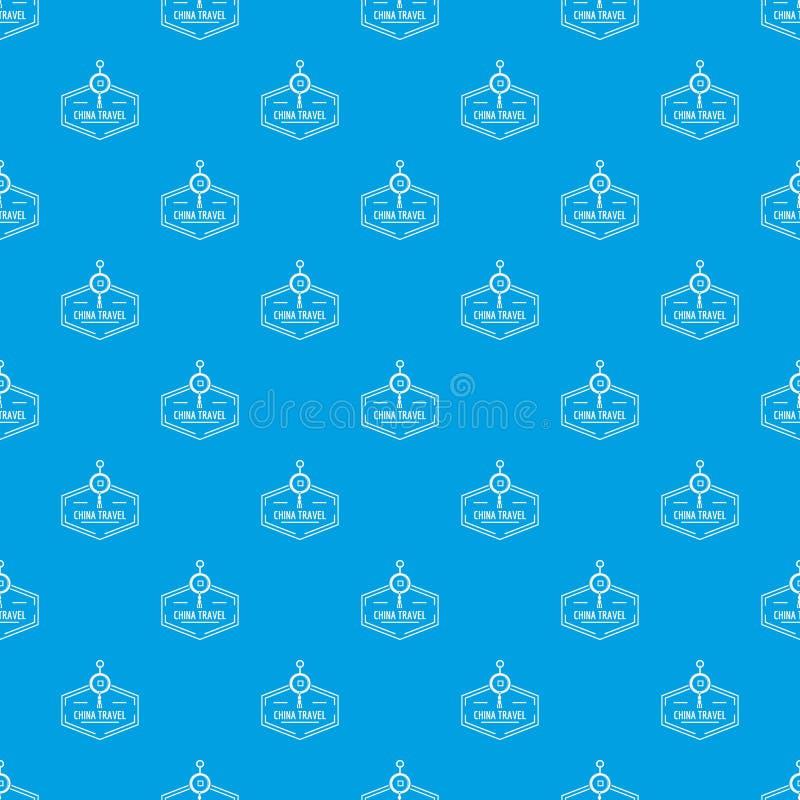 Porcelanowego podróż wzoru wektorowy bezszwowy błękit ilustracja wektor