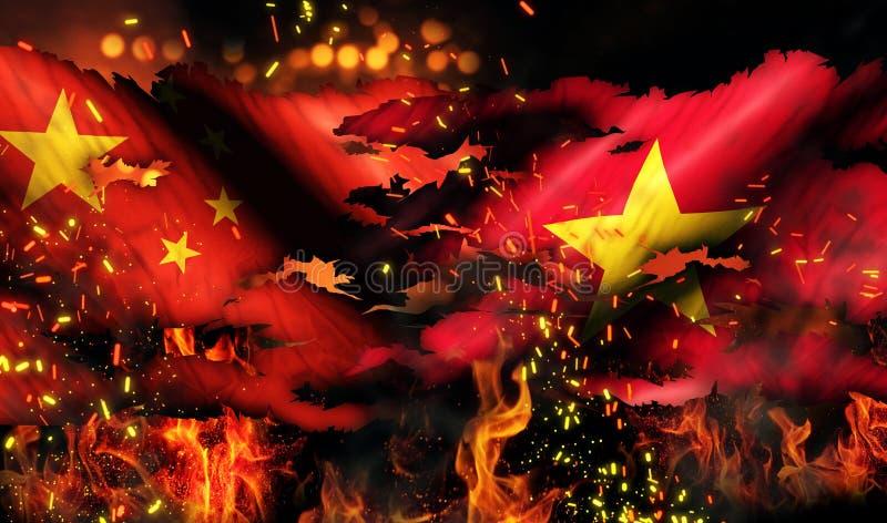 Porcelanowej Wietnam flaga Wojenny Drzejący Pożarniczy Międzynarodowy konflikt 3D royalty ilustracja