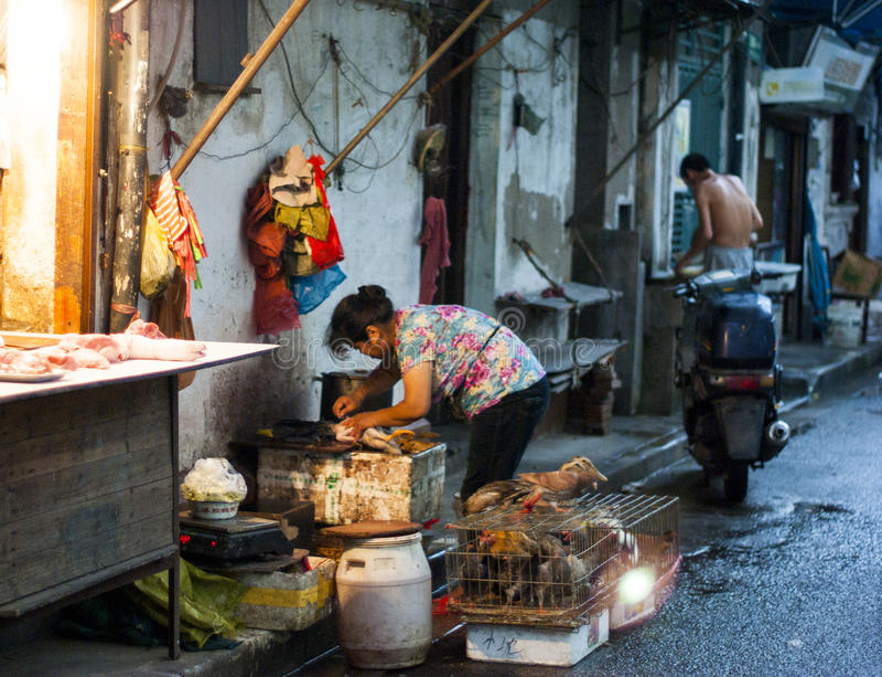 Porcelanowi Szanghaj sprzedawcy uliczni wśród targowy czerpać informacje. zdjęcia royalty free