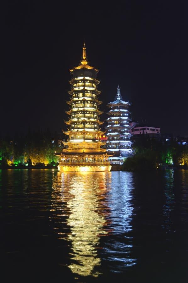 porcelanowy Guilin księżyc pagód słońca bliźniak fotografia royalty free