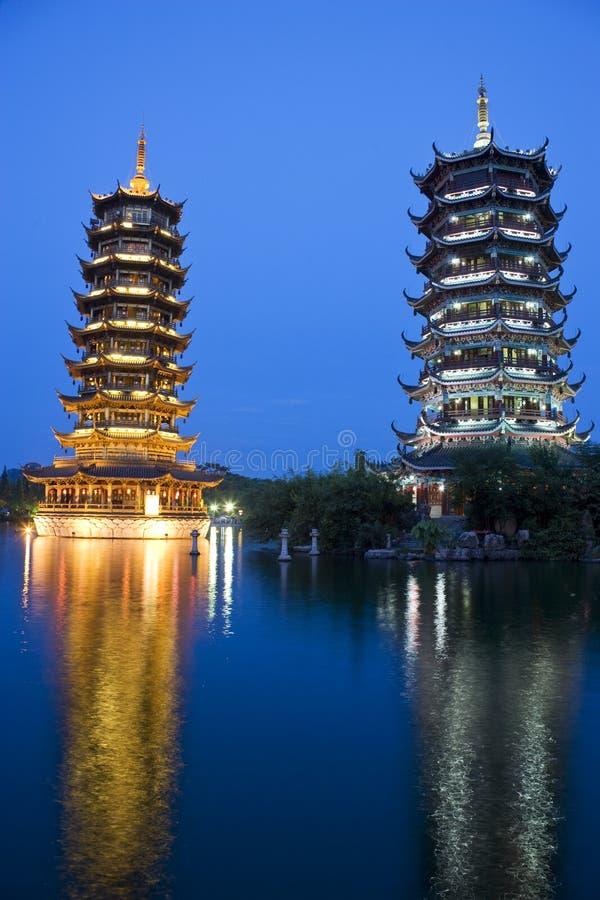 porcelanowy Guilin księżyc pagód słońce zdjęcia royalty free