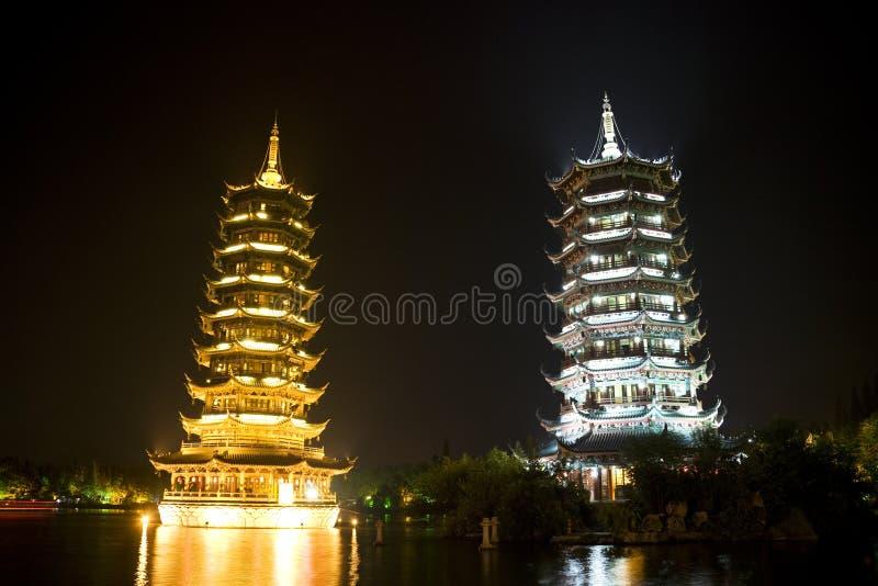 porcelanowy Guilin księżyc pagód słońce obraz stock