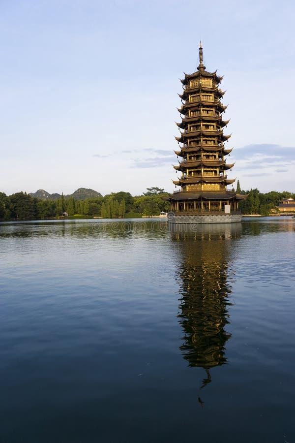 porcelanowy Guilin pagody słońce zdjęcie royalty free