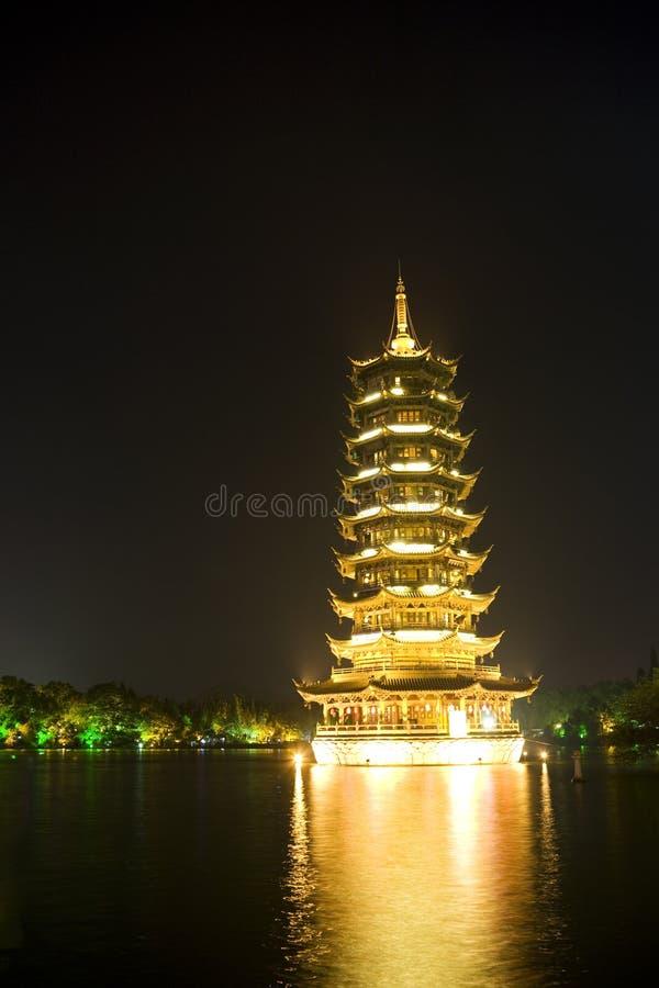 porcelanowy Guilin pagody słońce obraz stock