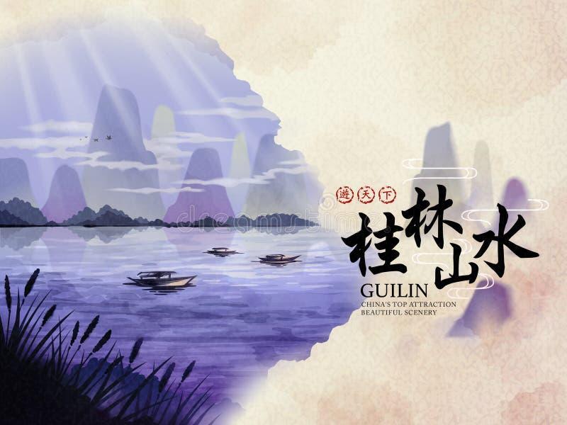 Porcelanowy Guilin podróży plakat royalty ilustracja