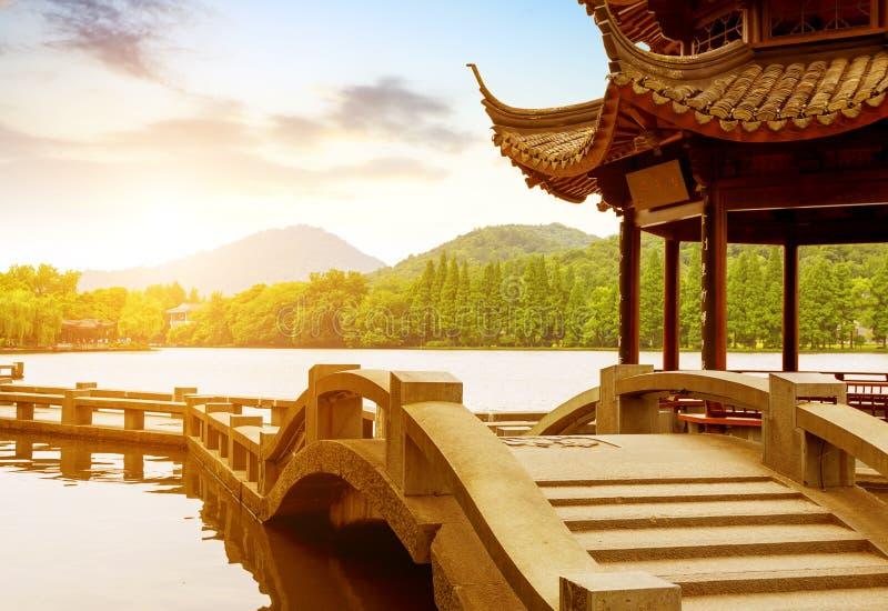 Porcelanowy Hangzhou jeziora Zachodni krajobraz obrazy stock