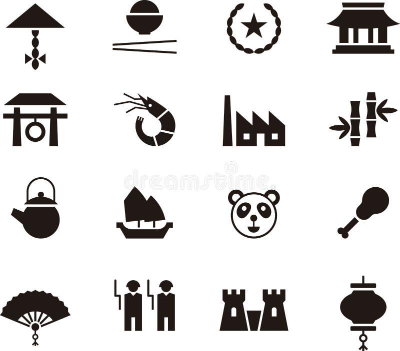 Porcelanowy ikona set ilustracja wektor