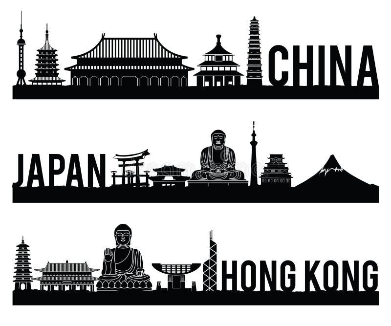 Porcelanowy Japonia Hong Kong punktu zwrotnego sylwetki sławny styl z czarny i biały klasycznym koloru projektem zawiera kraju im royalty ilustracja