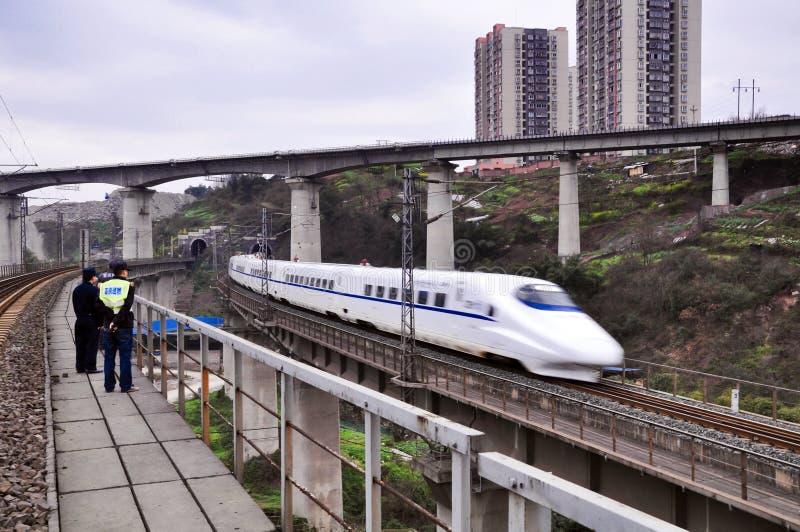 Porcelanowy Kolejowy Wysoki prędkość pociąg obrazy royalty free