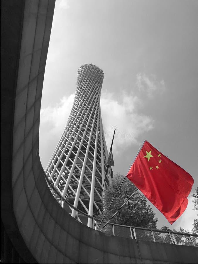 Porcelanowy Krajowy dzień czerwonej flaga latanie zdjęcia stock