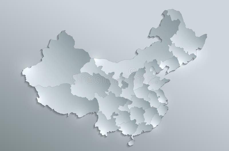 Porcelanowy mapa oddzielnych stanów pojedynczo szkła karty papieru 3D puste miejsce royalty ilustracja