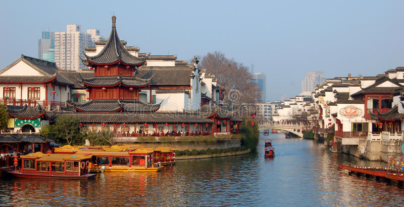 porcelanowy miasta Confucius Nanjing nowy świątynny rok obraz stock
