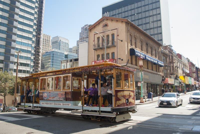 Porcelanowy miasteczko, Stary Szanghaj, San Francisco Wagonu kolei linowej bieg stary nowoczesnej architektury zdjęcie stock