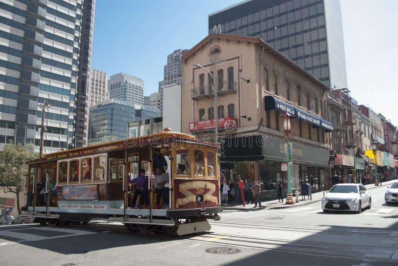 Porcelanowy miasteczko, Stary Szanghaj, San Francisco Wagonu kolei linowej bieg stary nowoczesnej architektury zdjęcie royalty free