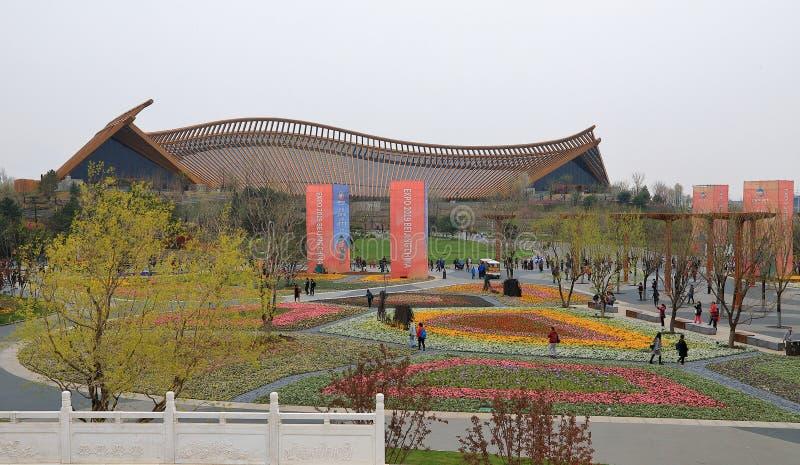 Porcelanowy pawilon w Międzynarodowej Ogrodniczej wystawie 2019 Pekin Chiny obrazy royalty free
