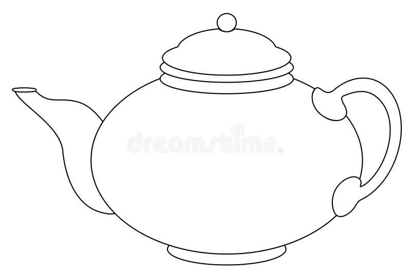 Porcelanowy round teapot, graficzny monochromu kontur royalty ilustracja