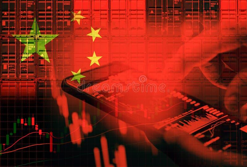 Porcelanowy rynek papierów wartościowych, Szanghaj giełda papierów wartościowych kryzysu wojna handlowa/i gospodarka obraz stock