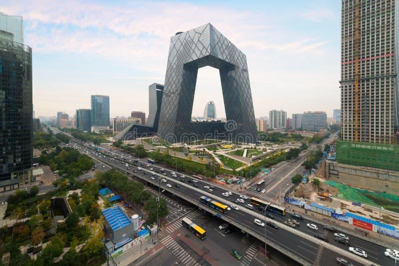 Porcelanowy ` s Pekin miasto, sławny punktu zwrotnego budynek, Chiny CCTV CC fotografia stock