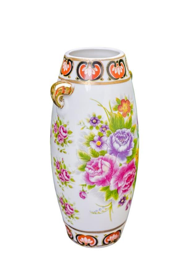 Porcelany kwiecistej wazy odosobniony biały tło fotografia stock
