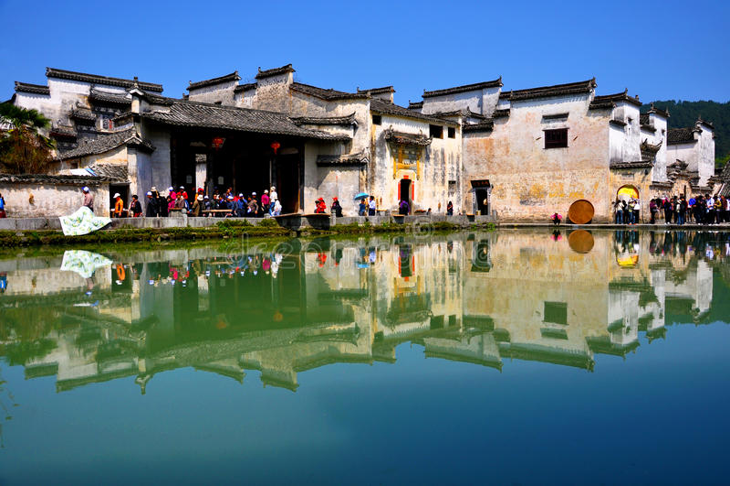 Porcellana antica del hongcun del villaggio fotografia stock