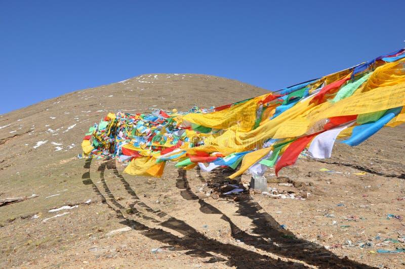 porcellana del Tibet della bandierina di preghiera fotografie stock