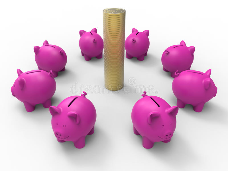 Porcellini salvadanaio e pila delle monete illustrazione vettoriale