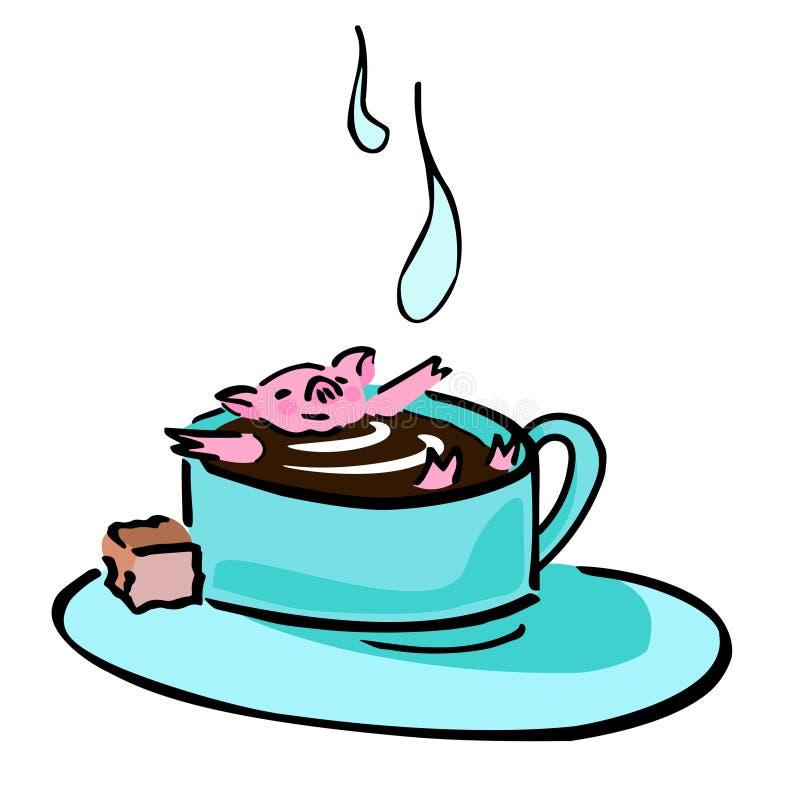 Porcellino divertente di vettore sveglio nel tazza da the royalty illustrazione gratis