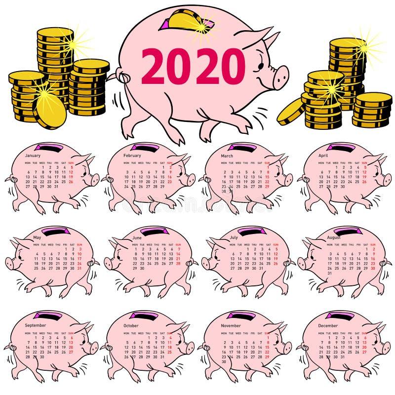 Porcellino salvadanaio alla moda del maiale del calendario per 2020 immagine stock